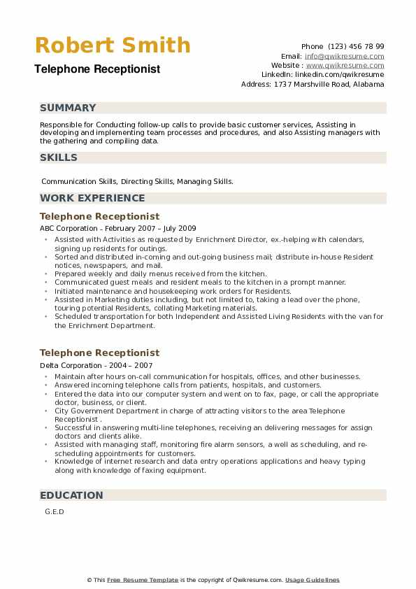 Telephone Receptionist Resume example