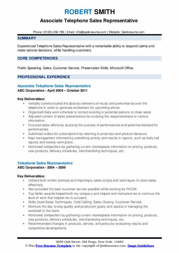Associate Telephone Sales Representative  Resume Template