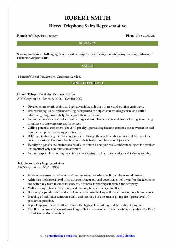 Direct Telephone Sales Representative Resume Model