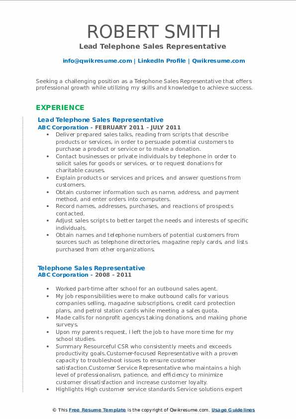 Lead Telephone Sales Representative  Resume Format