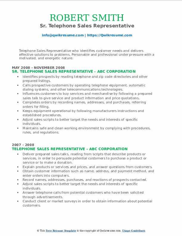 Sr. Telephone Sales Representative Resume Model