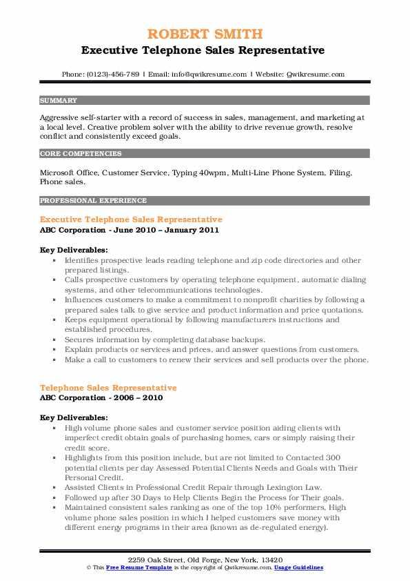 Executive Telephone Sales Representative  Resume Model
