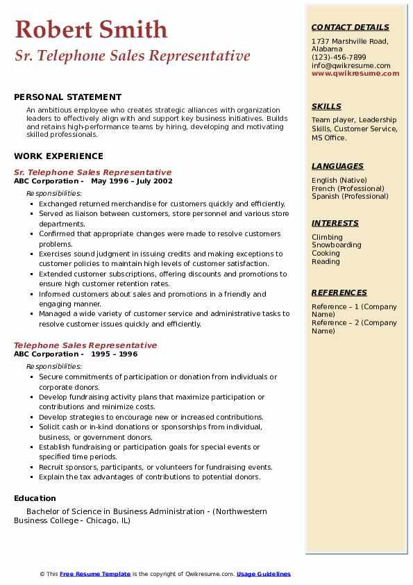 Sr. Telephone Sales Representative Resume Format