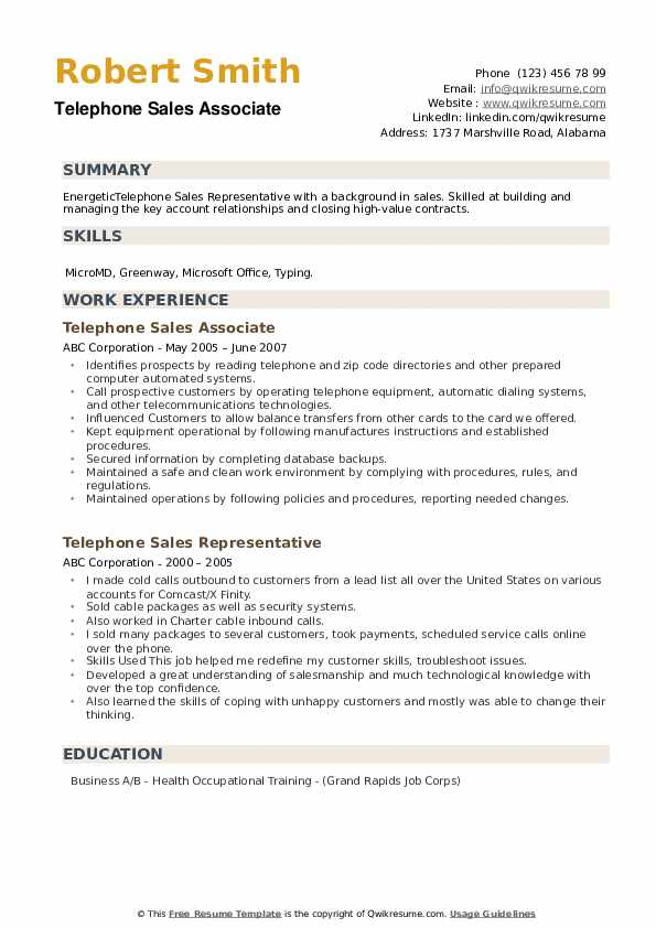 Telephone Sales Associate Resume Example
