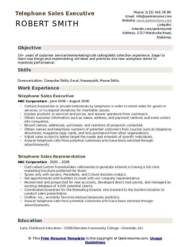 Telephone Sales Executive Resume Format