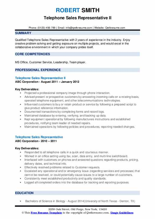 Telephone Sales Representative II Resume Format