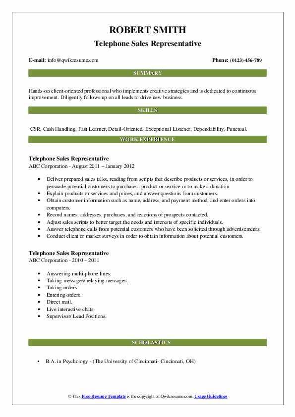 Telephone Sales Representative Resume example