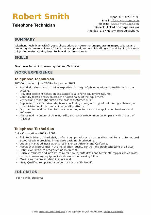 Telephone Technician Resume example