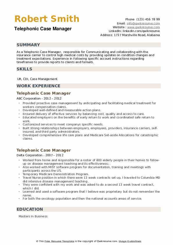 Telephonic Case Manager Resume example