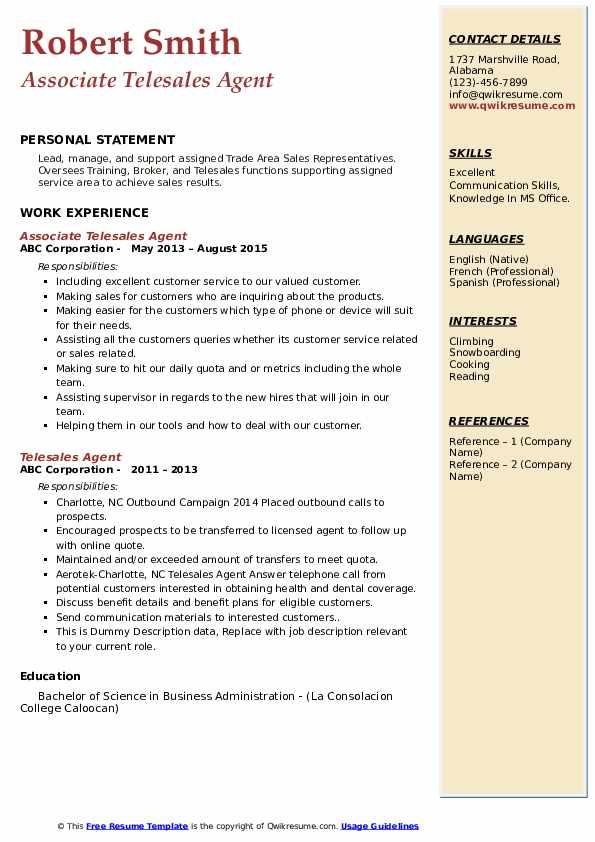 Telesales Agent Resume example