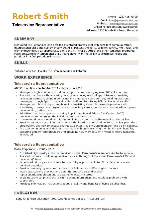 Teleservice Representative Resume example