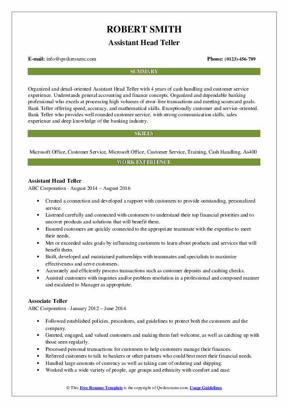 Assistant Head Teller Resume Model