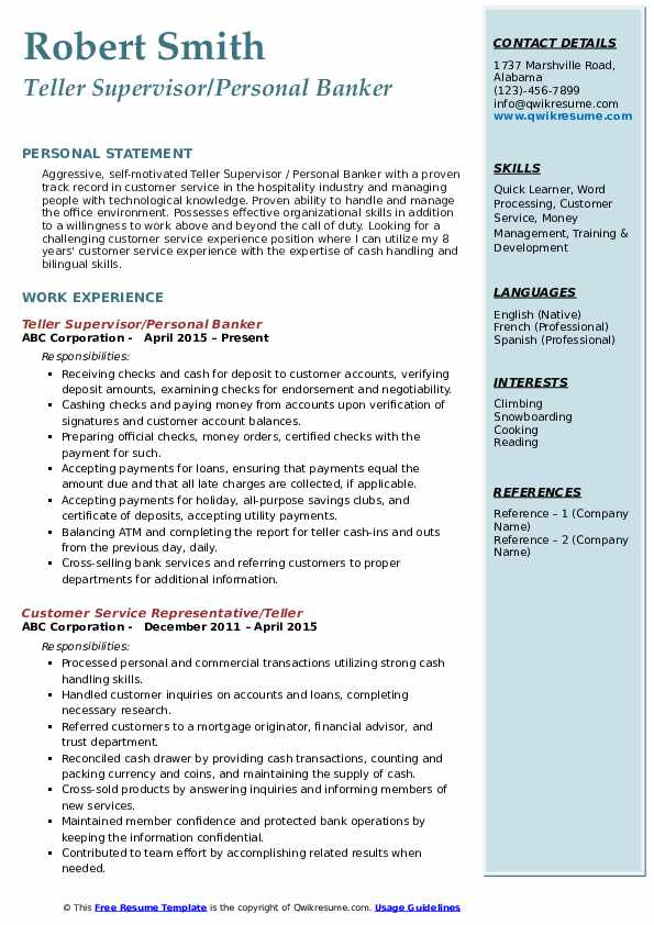 Teller Supervisor/Personal Banker Resume Sample