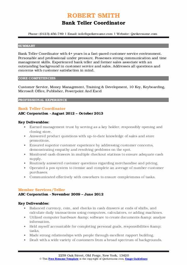 Bank Teller Coordinator Resume Format