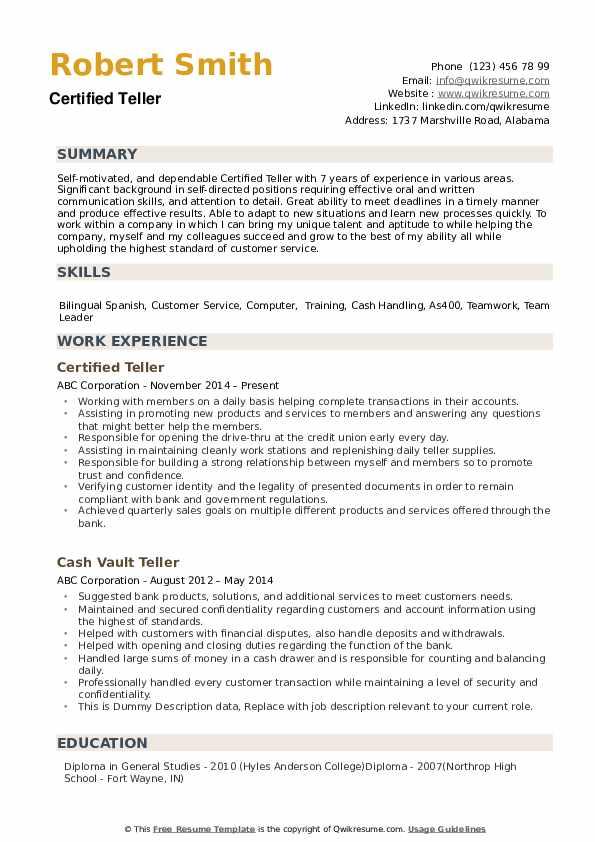 Teller Resume example