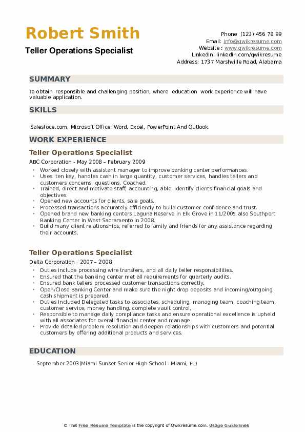 Teller Operations Specialist Resume example