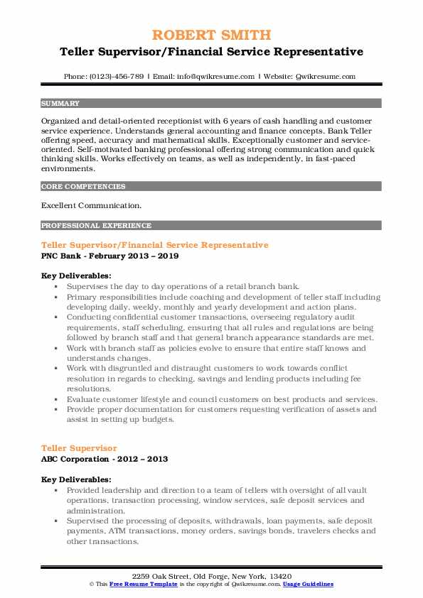 Teller Supervisor Resume Samples Qwikresume