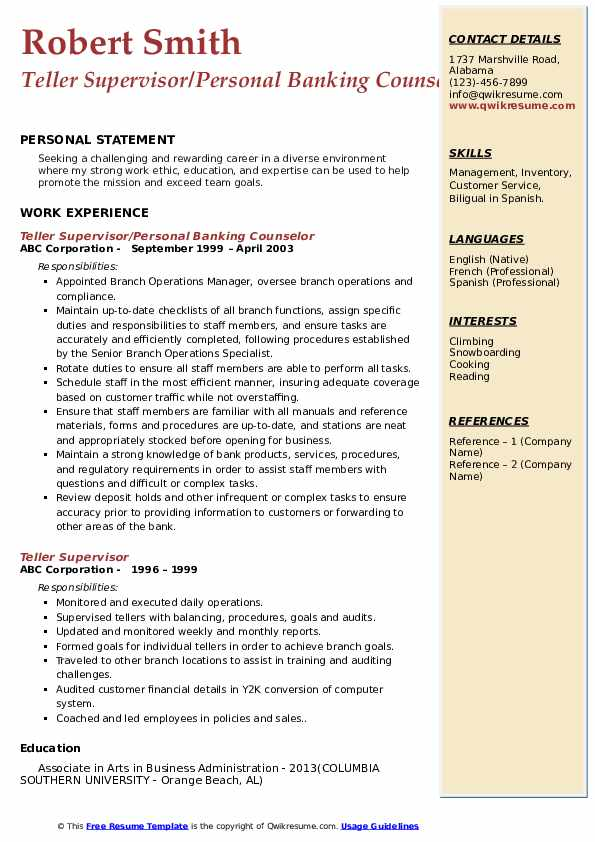 Teller Supervisor/Personal Banking Counselor Resume Template