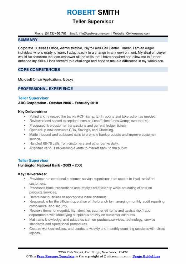 Teller Supervisor Resume example