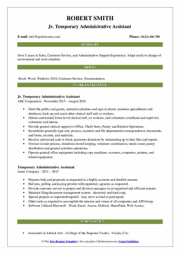Jr. Temporary Administrative Assistant  Resume Sample