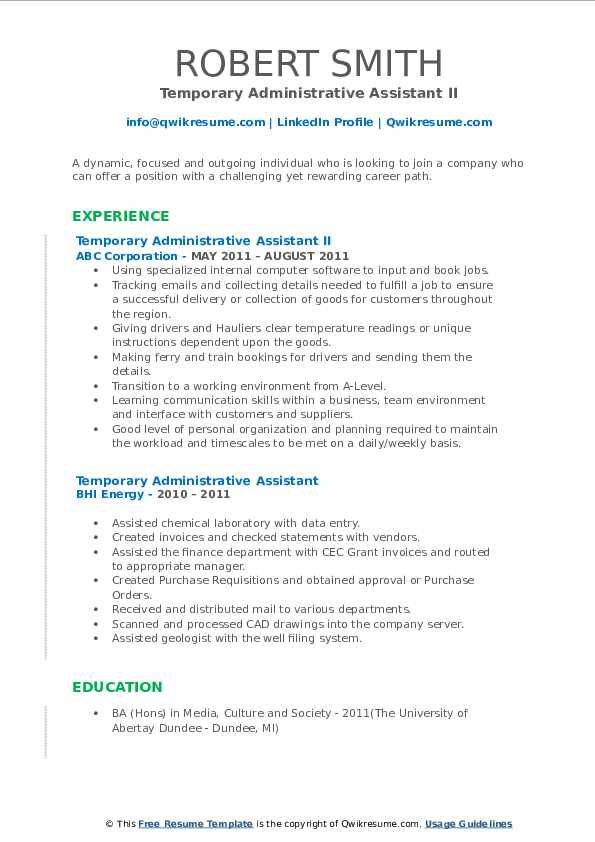 Temporary Administrative Assistant II Resume Model