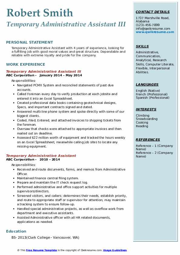 Temporary Administrative Assistant III Resume Template