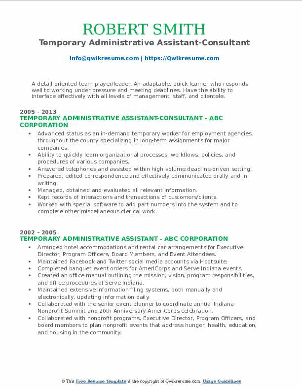 Temporary Administrative Assistant-Consultant Resume Format