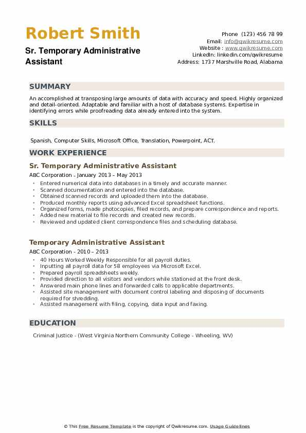 Sr. Temporary Administrative Assistant Resume Format