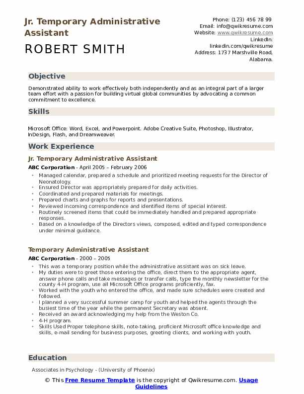 Jr. Temporary Administrative Assistant Resume Format