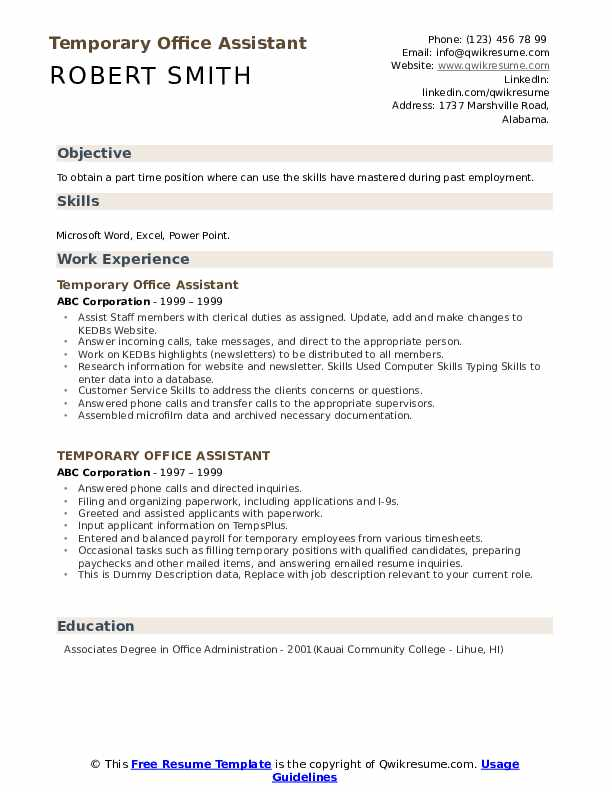 Temporary Office Assistant Resume example