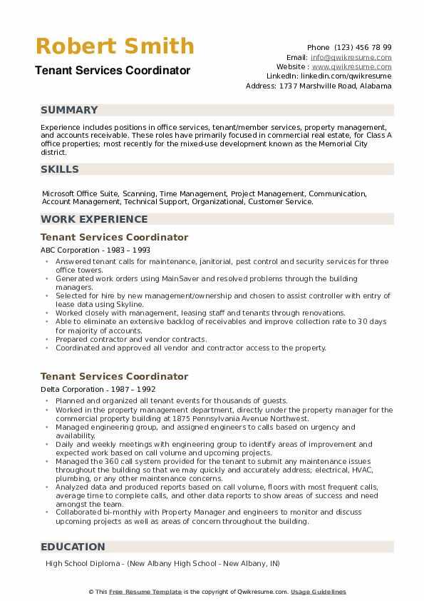Tenant Services Coordinator Resume example