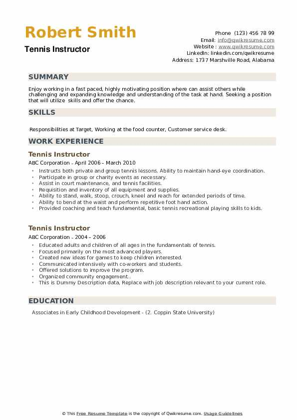 Tennis Instructor Resume example