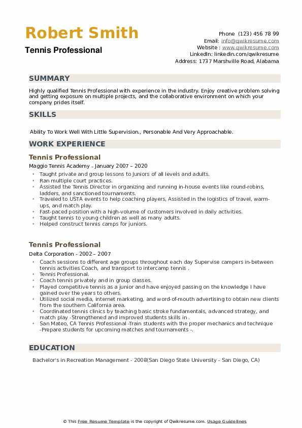 Tennis Professional Resume example