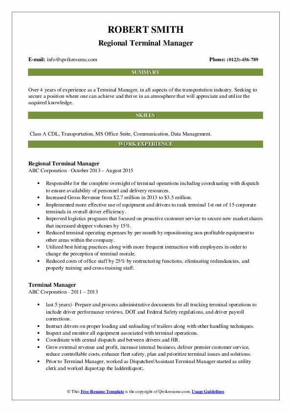 Regional Terminal Manager Resume Format