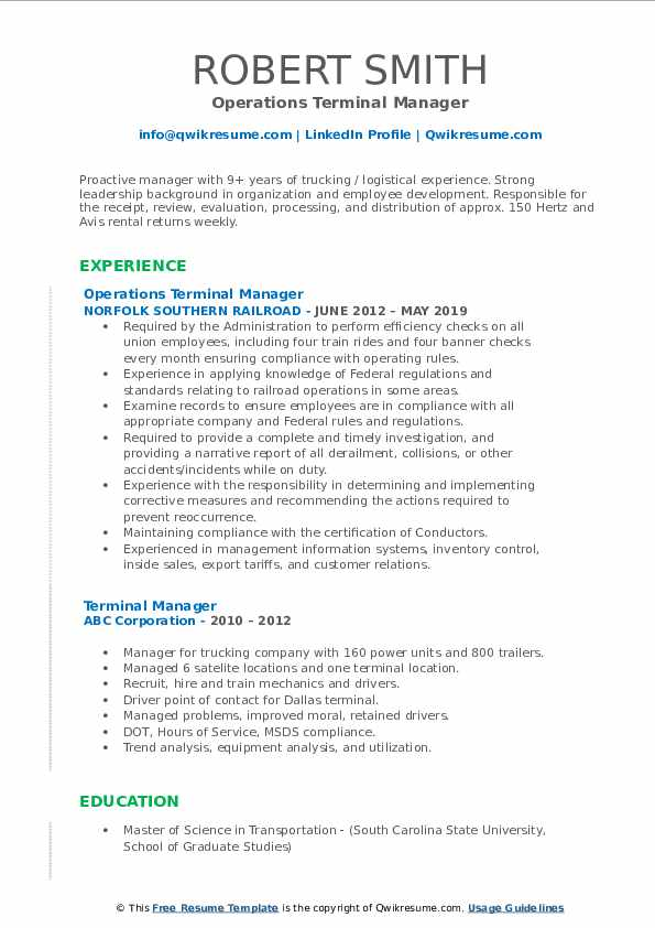 Operations Terminal Manager Resume Sample