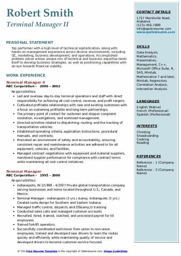Terminal Manager II Resume Model