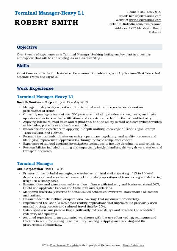 Terminal Manager-Heavy L1 Resume Example