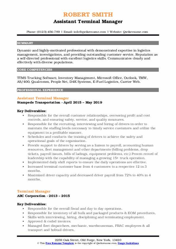 Assistant Terminal Manager Resume Format