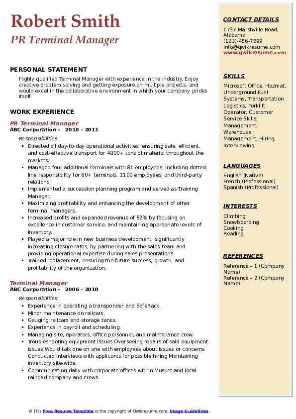 PR Terminal Manager Resume Model