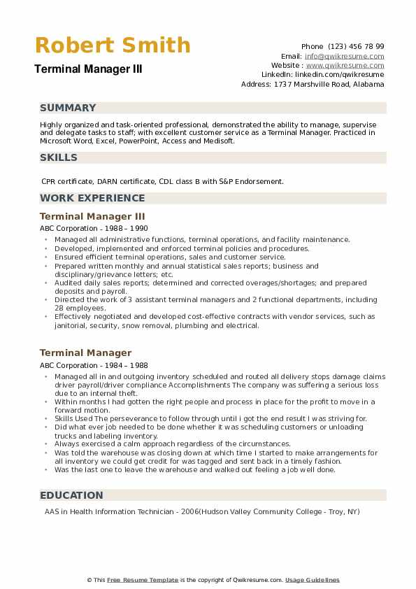 Terminal Manager III Resume Example