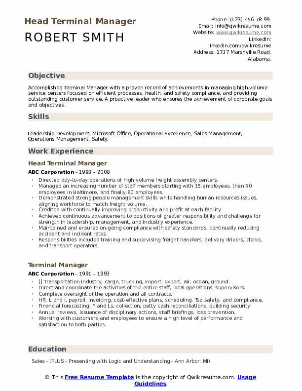 Head Terminal Manager Resume Template