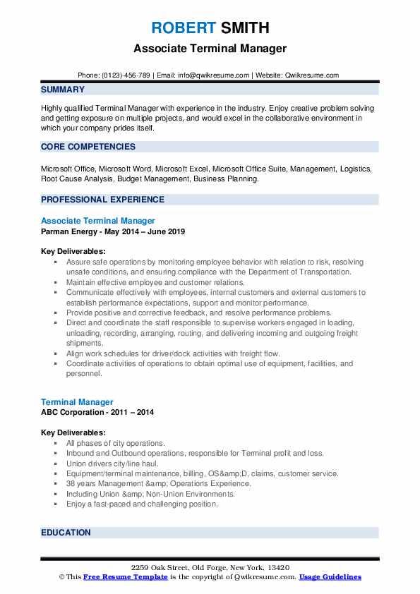 Associate Terminal Manager Resume Sample