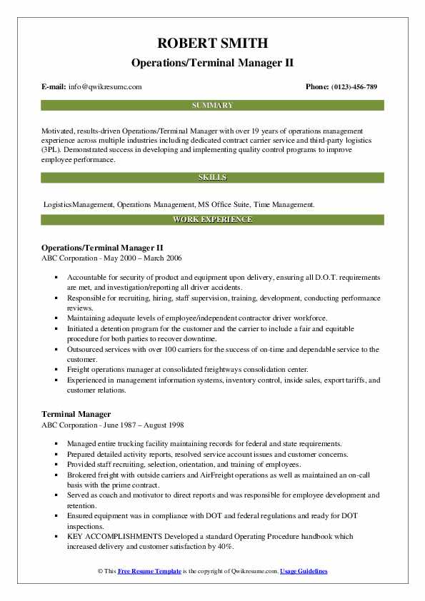 Operations/Terminal Manager II Resume Template