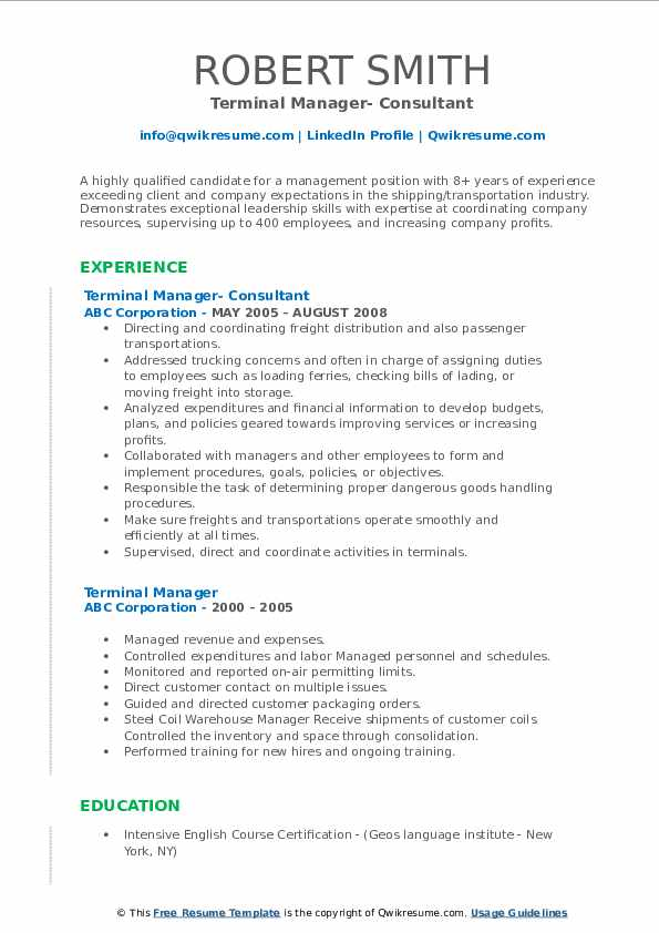 Terminal Manager- Consultant Resume Example
