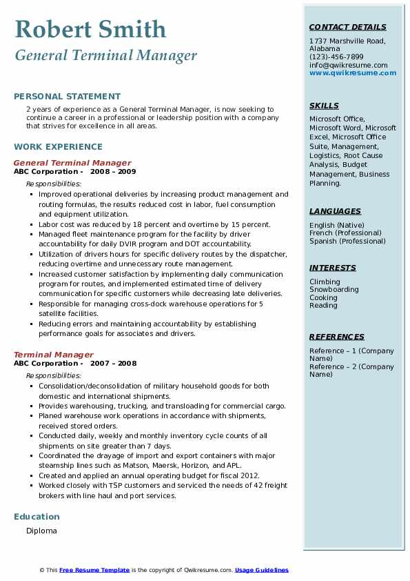 General Terminal Manager Resume Sample