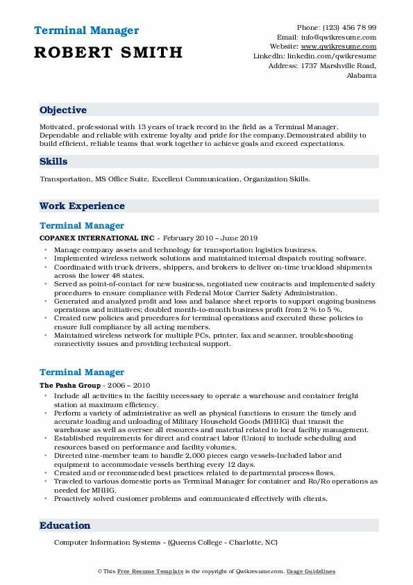 Terminal Manager Resume example