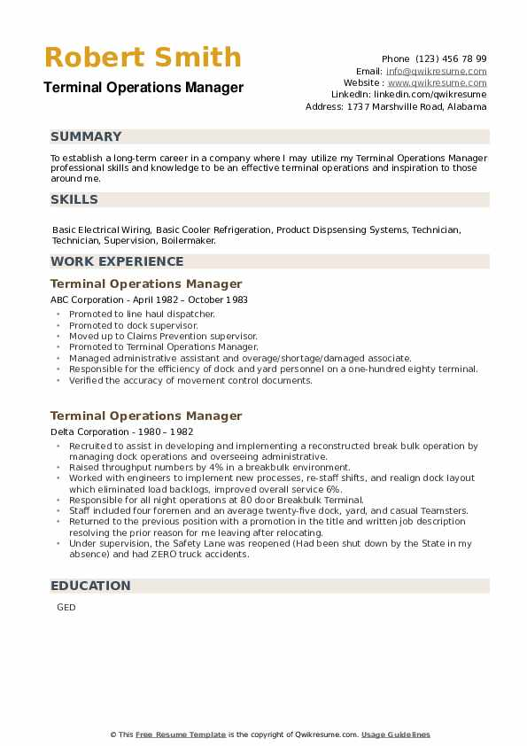 Terminal Operations Manager Resume example