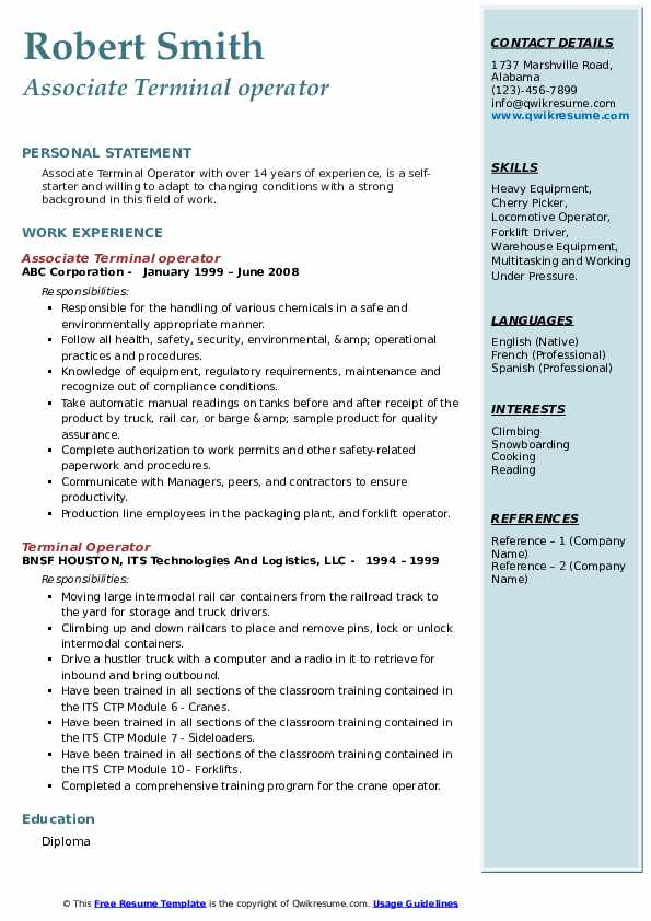 Associate Terminal operator Resume Format