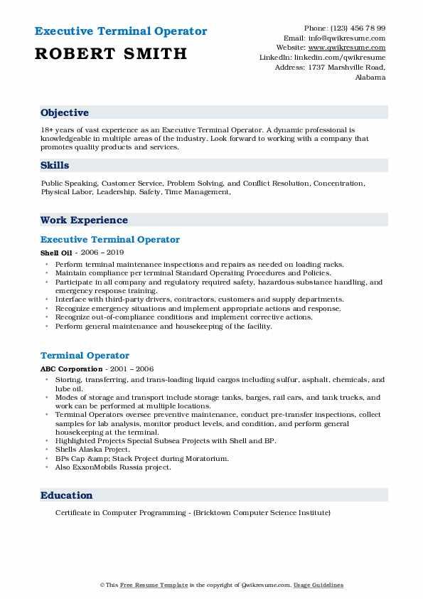 Executive Terminal Operator Resume Format