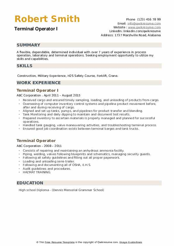 Terminal Operator I Resume Format